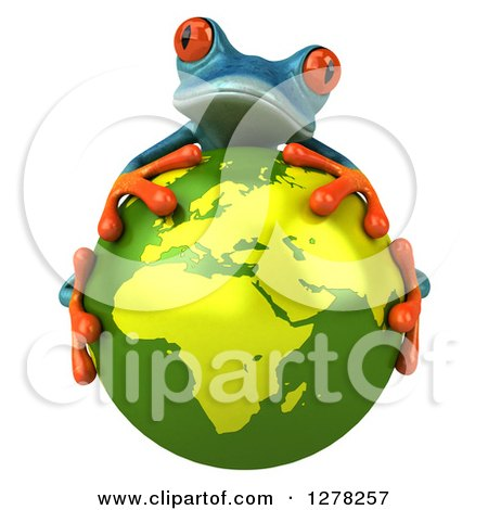 Clipart of a 3d Turquoise Frog Hugging a Green Planet Earth - Royalty Free Illustration by Julos