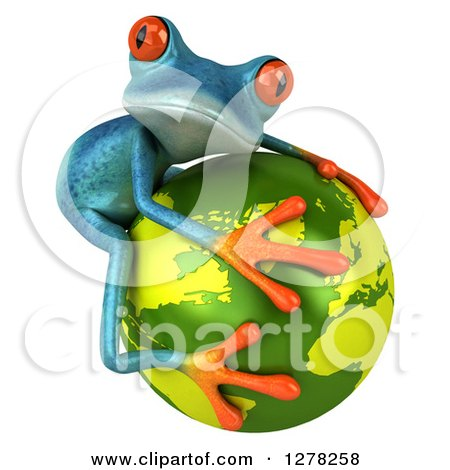 Clipart of a 3d Turquoise Frog Hugging a Green Planet Earth 2 - Royalty Free Illustration by Julos