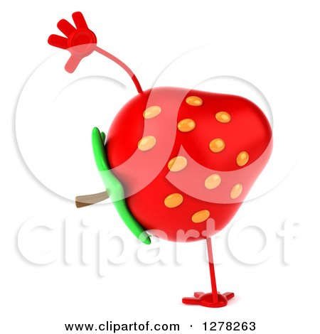 Clipart of a 3d Strawberry Character Doing a Cartwheel - Royalty Free Illustration by Julos