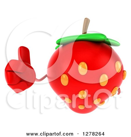 Clipart of a 3d Strawberry Character Holding a Thumb up - Royalty Free Illustration by Julos