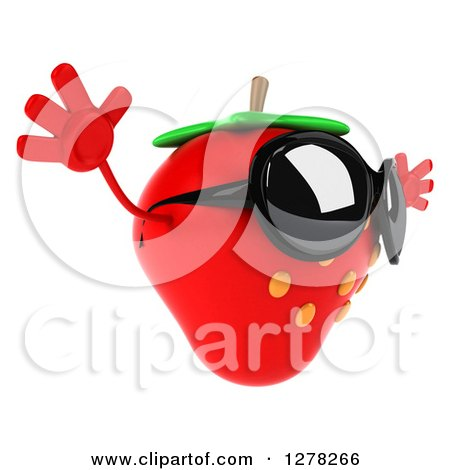 Clipart of a 3d Strawberry Character Wearing Sunglasses, Facing Right and Jumping - Royalty Free Illustration by Julos
