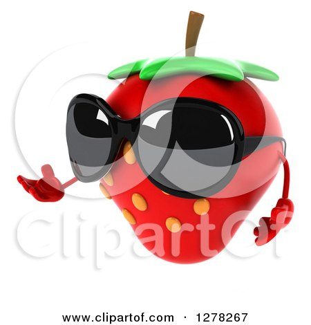 Clipart of a 3d Strawberry Character Wearing Sunglasses, Facing Left and Presenting - Royalty Free Illustration by Julos