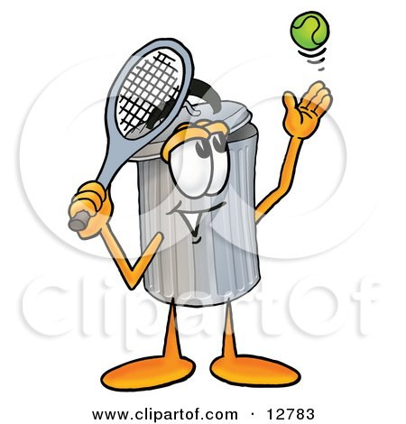 Clipart Picture of a Garbage Can Mascot Cartoon Character Preparing to Hit a Tennis Ball by Toons4Biz