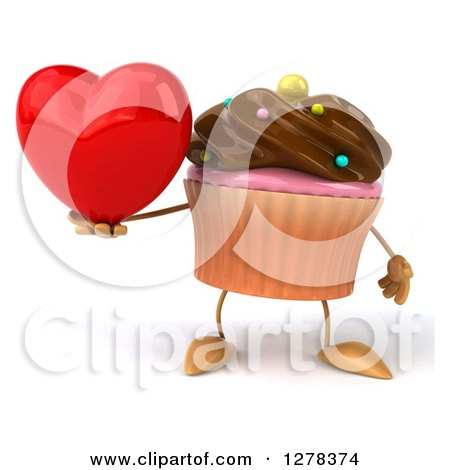 Clipart of a 3d Chocolate Frosted Cupcake Character Holding a Heart - Royalty Free Illustration by Julos