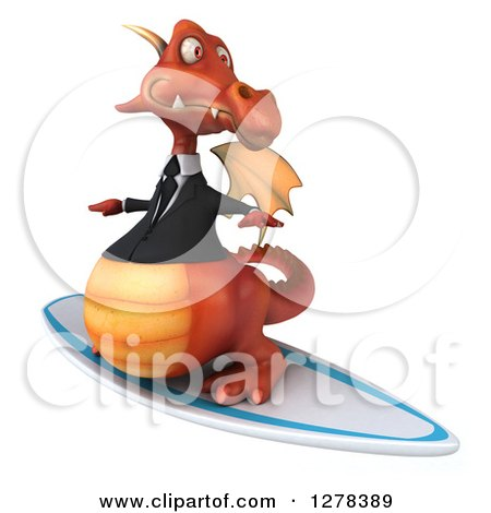 Clipart of a 3d Red Business Dragon Surfing - Royalty Free Illustration by Julos
