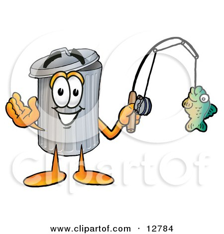 Clipart Picture of a Garbage Can Mascot Cartoon Character Holding a Fish on a Fishing Pole by Toons4Biz