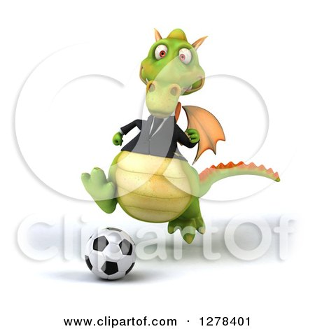 Clipart of a 3d Green Business Dragon Playing Soccer - Royalty Free Illustration by Julos