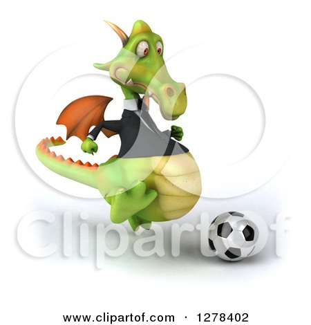 Clipart of a 3d Green Business Dragon Playing Soccer 2 - Royalty Free Illustration by Julos