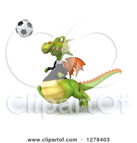 Clipart of a 3d Green Business Dragon Playing Soccer 3 - Royalty Free Illustration by Julos