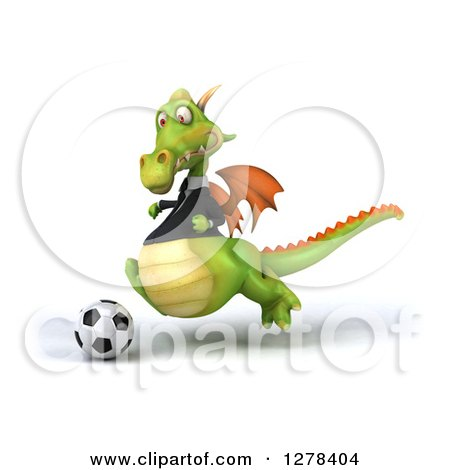 Clipart of a 3d Green Business Dragon Playing Soccer 4 - Royalty Free Illustration by Julos