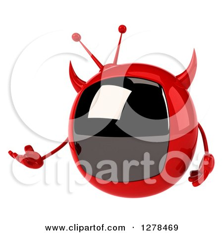 Clipart of a 3d Evil Devil Tv Presenting to the Left - Royalty Free Illustration by Julos