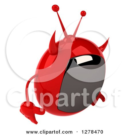 Clipart of a 3d Evil Devil Tv Facing Right and Pouting - Royalty Free Illustration by Julos