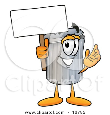 Clipart Picture of a Garbage Can Mascot Cartoon Character Holding a Blank Sign by Toons4Biz