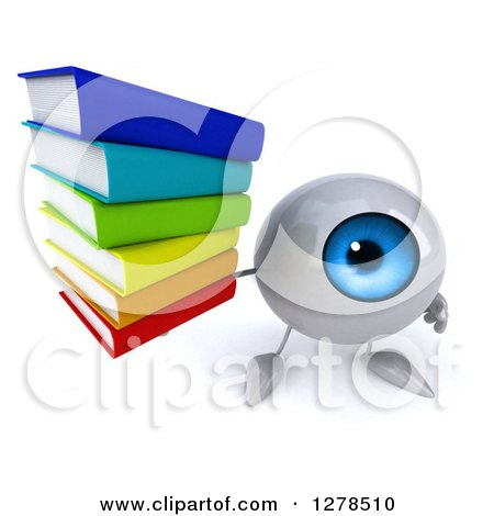 Clipart Of A 3d Blue Eyeball Character Holding Up A Stack Of Books Royalty Free Illustration