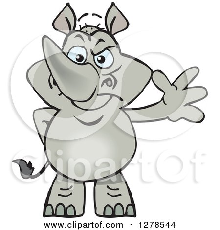 Happy Rhino Standing and Waving Posters, Art Prints