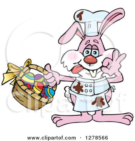 Clipart of a Pink Easter Bunny Cheff with Chocolate Splatters and a Basket of Eggs - Royalty Free Vector Illustration by Dennis Holmes Designs