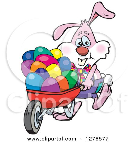 Clipart of a Pink Easter Bunny Pushing a Wheelbarrow of Eggs - Royalty Free Vector Illustration by Dennis Holmes Designs
