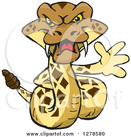 Clipart of a Happy Rattlesnake Waving - Royalty Free Vector Illustration by Dennis Holmes Designs
