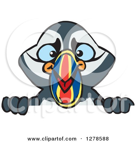 Clipart of a Happy Puffin Bird Peeking over a Sign - Royalty Free Vector Illustration by Dennis Holmes Designs