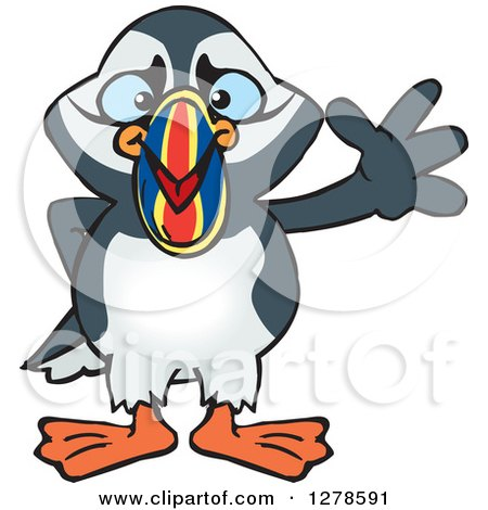 Clipart of a Happy Puffin Bird Waving - Royalty Free Vector Illustration by Dennis Holmes Designs