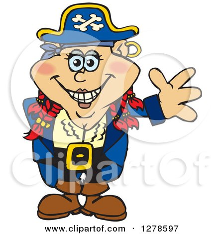 Clipart of a Happy Red Haired Female Pirate Waving - Royalty Free Vector Illustration by Dennis Holmes Designs