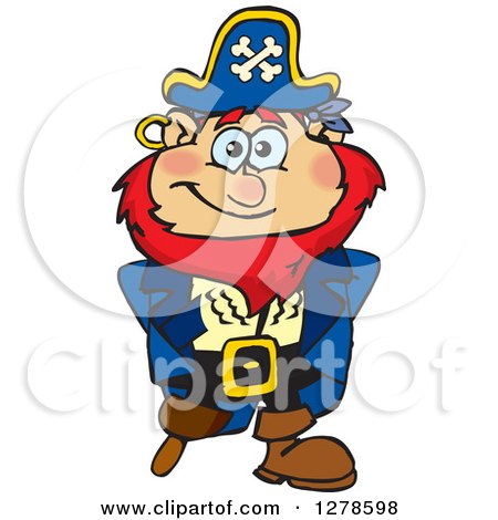 Clipart of a Happy Red Haired Male Pirate - Royalty Free Vector Illustration by Dennis Holmes Designs