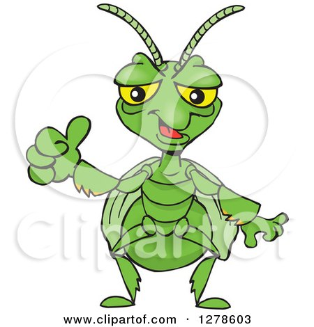Clipart of a Happy Praying Mantis Holding a Thumb up - Royalty Free Vector Illustration by Dennis Holmes Designs