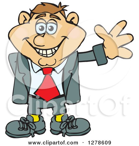 Clipart of a Happy Smiling White Business Man Waving - Royalty Free Vector Illustration by Dennis Holmes Designs