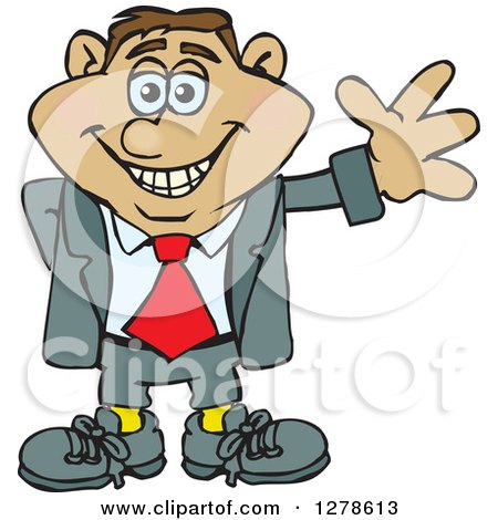 Clipart of a Happy Smiling Hispanic Business Man Waving - Royalty Free Vector Illustration by Dennis Holmes Designs