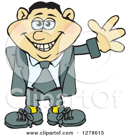 Clipart of a Happy Smiling Asian Business Man Waving - Royalty Free Vector Illustration by Dennis Holmes Designs