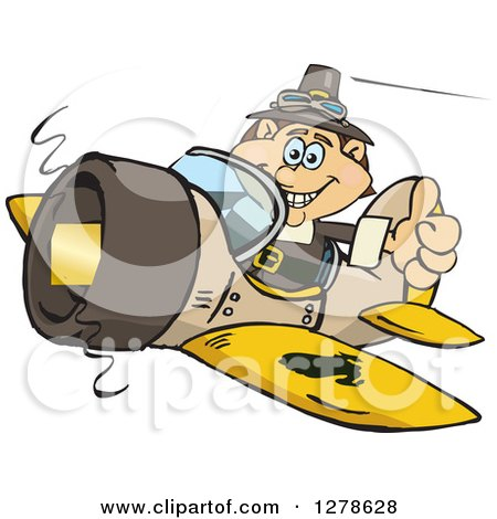 Clipart of a Happy Male Thanksgiving Pilgrim Holding a Thumb up and Flying a Plane - Royalty Free Vector Illustration by Dennis Holmes Designs