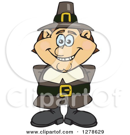 Clipart of a Happy Male Thanksgiving Pilgrim - Royalty Free Vector Illustration by Dennis Holmes Designs