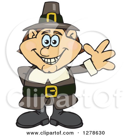 Clipart of a Happy Male Thanksgiving Pilgrim Waving - Royalty Free Vector Illustration by Dennis Holmes Designs