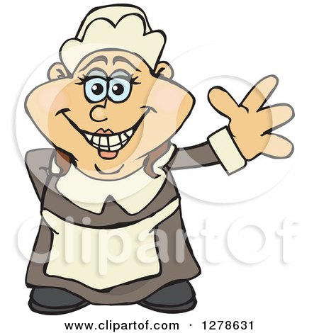 Clipart of a Happy Female Thanksgiving Pilgrim Waving - Royalty Free Vector Illustration by Dennis Holmes Designs