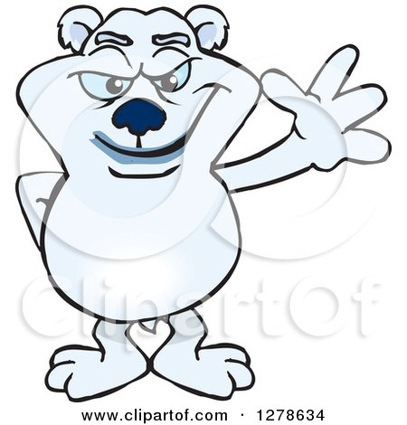 Clipart of a Polar Bear Waving - Royalty Free Vector Illustration by Dennis Holmes Designs