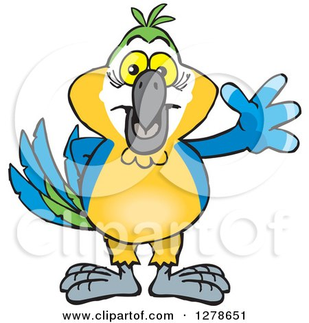 Clipart of a Blue and Yellow Macaw Parrot Waving - Royalty Free Vector Illustration by Dennis Holmes Designs