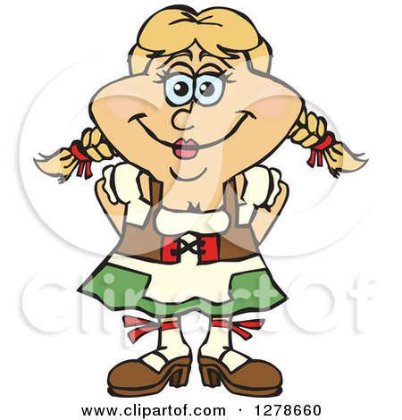 Clipart of a Happy German Oktoberfest Woman - Royalty Free Vector Illustration by Dennis Holmes Designs
