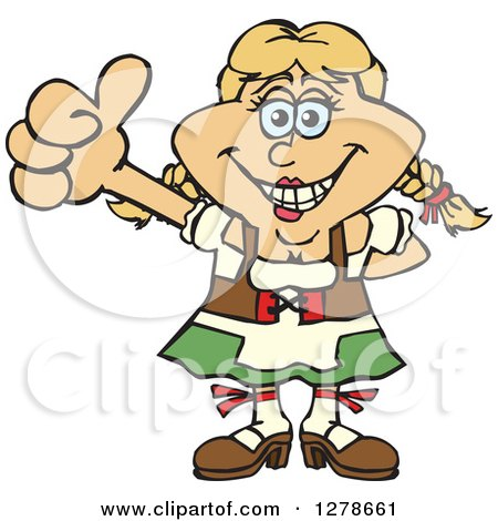 Clipart of a Happy German Oktoberfest Woman Holding a Thumb up - Royalty Free Vector Illustration by Dennis Holmes Designs