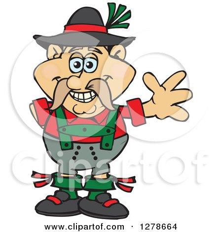 Clipart of a Friendly Waving German Oktoberfest Man Wearing a ...
