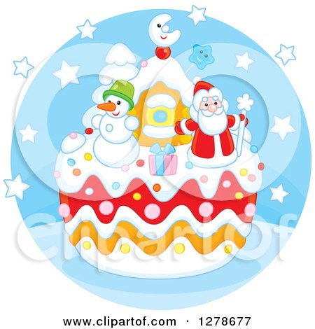 Clipart of a Festive Christmas Cake with Santa Claus, a Snowman, Gift and House in a Blue Circle - Royalty Free Vector Illustration by Alex Bannykh
