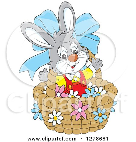 Clipart of a Happy Gray Easter Bunny Rabbit in a Basket with a Blue Bow and Flowers - Royalty Free Vector Illustration by Alex Bannykh