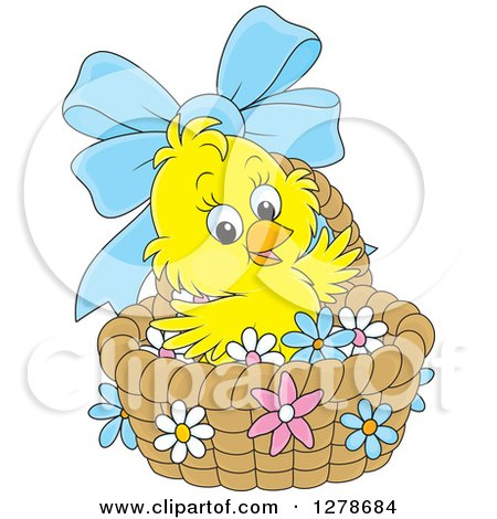 Clipart of a Cute Yellow Easter Chick in a Basket with a Blue Bow and Flowers - Royalty Free Vector Illustration by Alex Bannykh