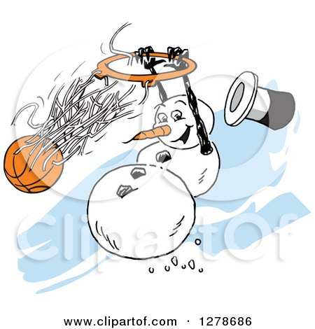 Clipart of a Winter Snowman Slam Dunking a Basketball over Blue Streaks - Royalty Free Vector Illustration by Johnny Sajem