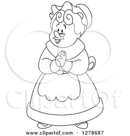 Clipart of Mrs Claus Clasping Her Hands Together - Royalty Free ...