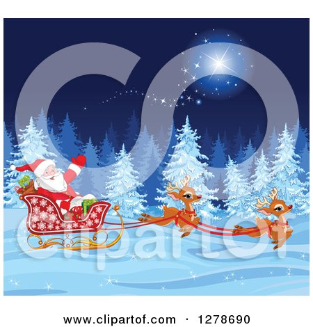 Clipart of a Christmas Santa Claus and Cute Reindeer Running a Sleigh Through a Magic Winter Night Landscape - Royalty Free Vector Illustration by Pushkin