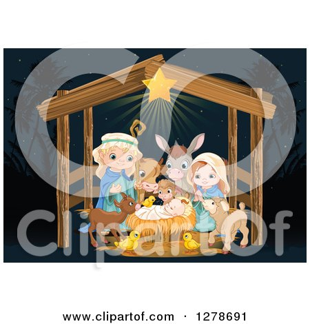Nativity Scene of Baby Jesus, Joseph, Mary and Cute Animals in a Manger at Night Posters, Art Prints