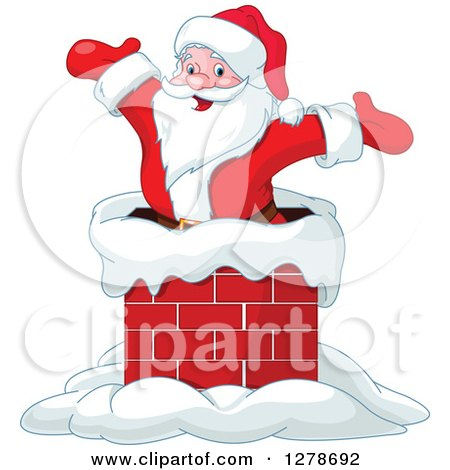 Clipart of a Christmas Santa Claus Cheering Inside a Chimney on a Roof Top - Royalty Free Vector Illustration by Pushkin