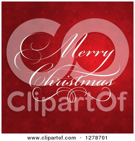 Clipart of a Fancy White Merry Christmas Greeting over Red Stars and Snowflakes - Royalty Free Vector Illustration by KJ Pargeter