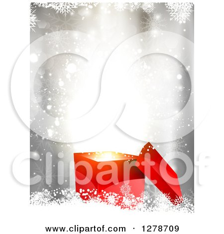 Clipart of a 3d Red Christmas Gift Box with Surprise Lights over Bokeh and Snowflakes - Royalty Free Vector Illustration by KJ Pargeter