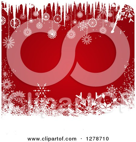 Clipart of a Red Christmas Background Bordered in White Snowflakes and Icicles - Royalty Free Vector Illustration by KJ Pargeter